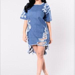 Denim, high low dress